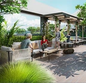 Cafe sân vườn tại Hacom Mall